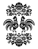 Polish ethnic floral embroidery with roosters in black and white — Stock Vector
