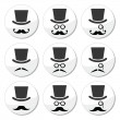 Mustache or moustache with hat and glasses icons set — Stock Vector