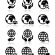 Globe earth with hands vector icons set with reflection — Stock Vector #26701817