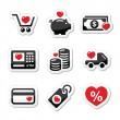 I love shopping, I love money vector icons — Stock Vector