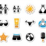Summer beach holidays vector icons set — Stock Vector #26973065