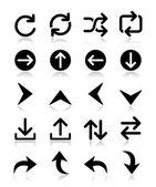 Izole üzerinde beyaz ok vector icon setler — Stok Vektör