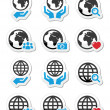 Globe earth with hands vector icons set — Stock Vector