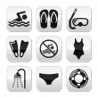 Swimming, scuba diving, sport vector buttons set — Stock Vector