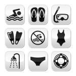 Swimming, scuba diving, sport vector buttons set — Stock Vector