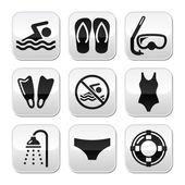 плавание, подводное плавание, спортивный вектор кнопки набора — Cтоковый вектор