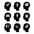Head, man thoughts vector icons set — Stock Vector