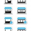 Single shop, store, supermarket vector icons set — Stock Vector
