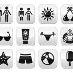 Summer beach holidays vector buttons set — Stock Vector
