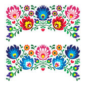 Polish floral folk embroidery patterns for card — Stock Vector