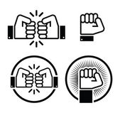 Fist, fist bump vector icons set — Stock Vector