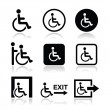 Mon wheelchair, disabled, emergency exit icon — Stock Vector #27662627