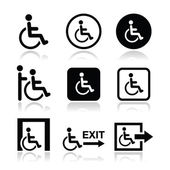 Man on wheelchair, disabled, emergency exit icon — Stock Vector