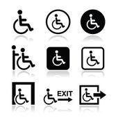 Muž na invalidní vozík, zakázán, nouzový východ ikonu — Stock vektor