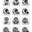 Globe earth with hands vector icons set with reflection — Stock Vector #27709955