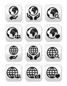 Globe earth with hands vector icons set with reflection — Stock Vector