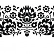 Polish floral folk embroidery black and white pattern — Stock Vector