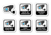 CCTV camera, Video surveillance icons set — Stock Vector