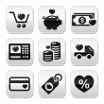 I love shopping, I love money vector buttons set — Stock Vector