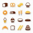 Bakery, pastry icons set - bread, donut, cake, cupcake — Stock Vector