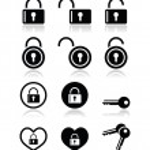 Padlock, key vector icons set — Stock Vector