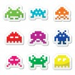 ������, ������: Space invaders 8bit aliens icons set
