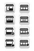 Single shop or store, supermarket vector buttons set — Stock Vector