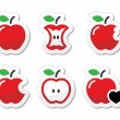 Apple, apple core, bitten, half vector labels set — Stockvectorbeeld
