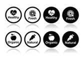 Organic food, fresh and natural products icons set — ストックベクタ