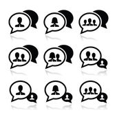 Business meeting, communication icons set — Stock Vector
