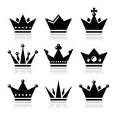 Crown, royal family icons set — Stock Vector