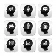 Head, man thoughts vector buttons set — Stock Vector