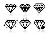 Diamond vector icons set — Stock Vector