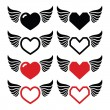 Heart with wings icons set — Stock Vector #28968745