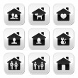 Home, family vector buttons set  — Stock Vector