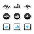 Soundwave music vector icons set — Stock Vector #29086395