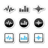 Soundwave music vector icons set — Stock Vector