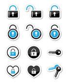 Candado, llave, conjunto de iconos de vector cuenta — Vector de stock