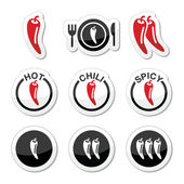 Chili peppers, hot and spicy food icons set — Stock Vector