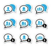 Business meeting, communication icons set — Stock vektor