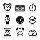 Time, clock vector icons set — Vettoriale Stock