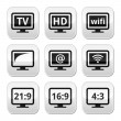 TV monitor, screen buttons set — Stock Vector