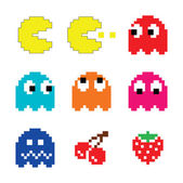 Pacman and ghosts 80's computer game icons set — Vector de stock