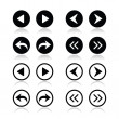 Previous, next arrows round icons set — Imagens vectoriais em stock