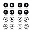 Previous, next arrows round icons set — Imagen vectorial