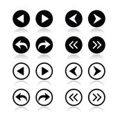 Previous, next arrows round icons set — Vettoriale Stock