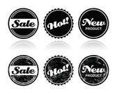 Shopping retro badges - sale, new, hot product — Stock Vector