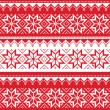 Nordic seamless christmas red pattern — Stock Vector
