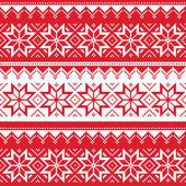 北欧のシームレスな赤いクリスマスのパターン — ストックベクタ