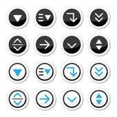 Menu drop down round icons set — Stock Vector